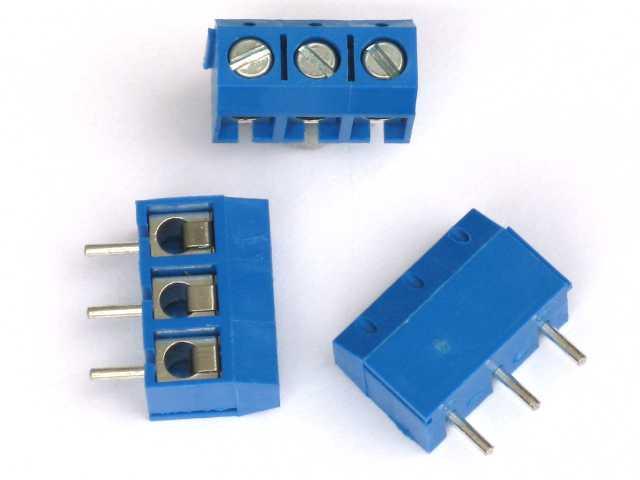 Konektor 3 piny, rozteč 5mm, modrý, spojovatelný.