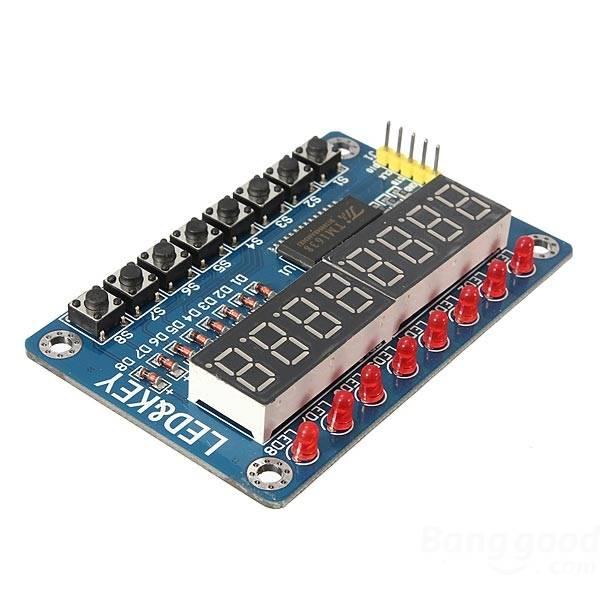Modul segmentového LED displeje s tlačítky a diodami