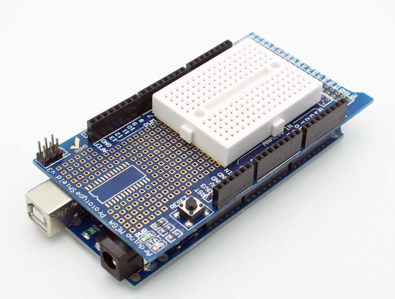 Arduino MEGA prototype Shield + mini BreadBoard