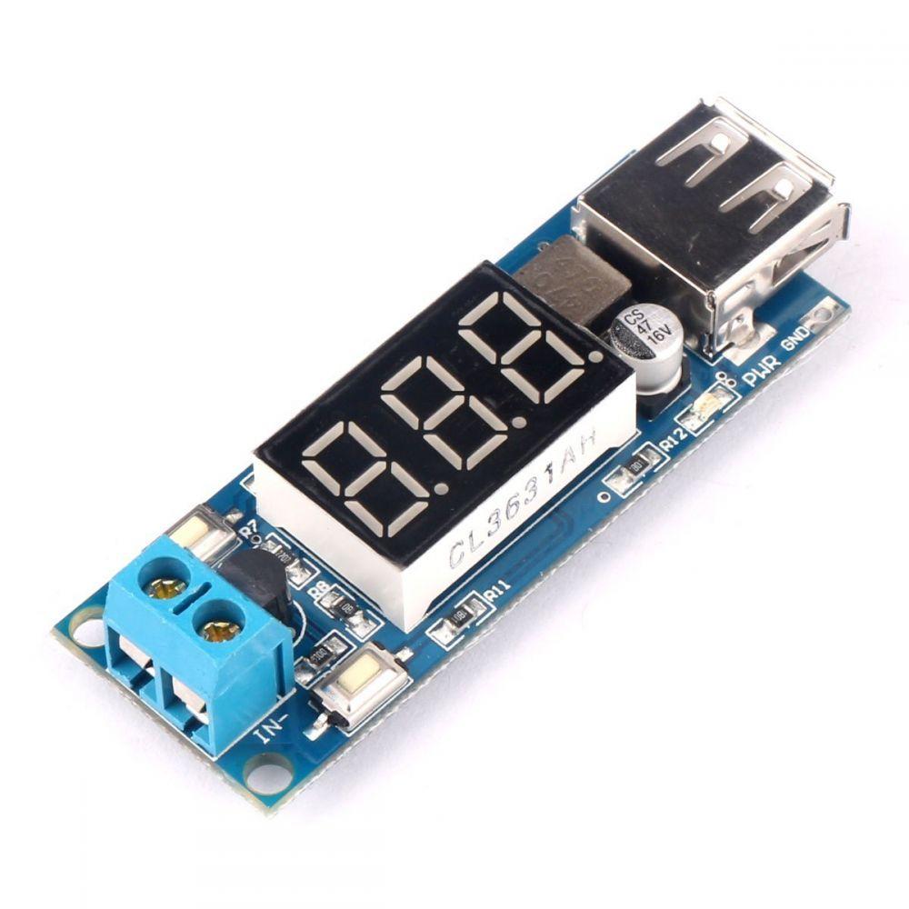 Regulátor napětí 5-40V na 5V s USB a LED displejem