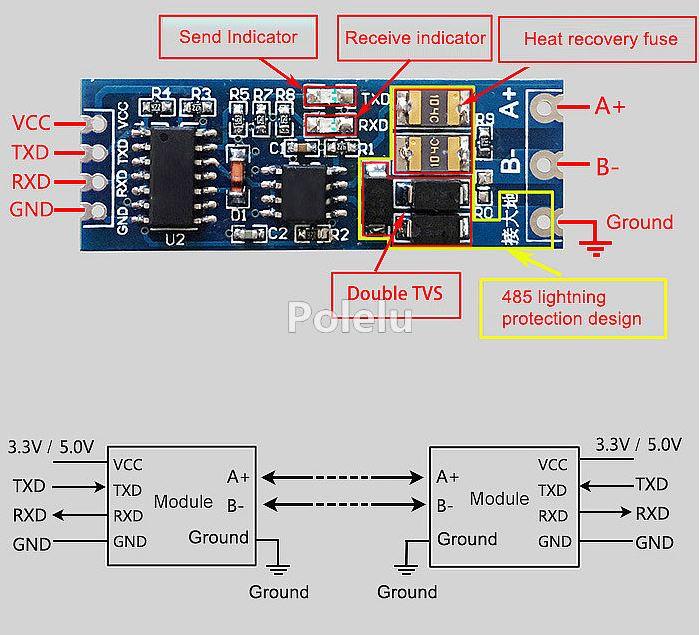 Převodník RS-485 na TTL (MAX485) s galvanickým oddělením