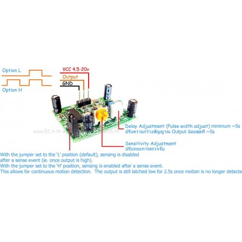 Čidlo HC-SR501 detekce pohybu s nastavením času a citlivosti
