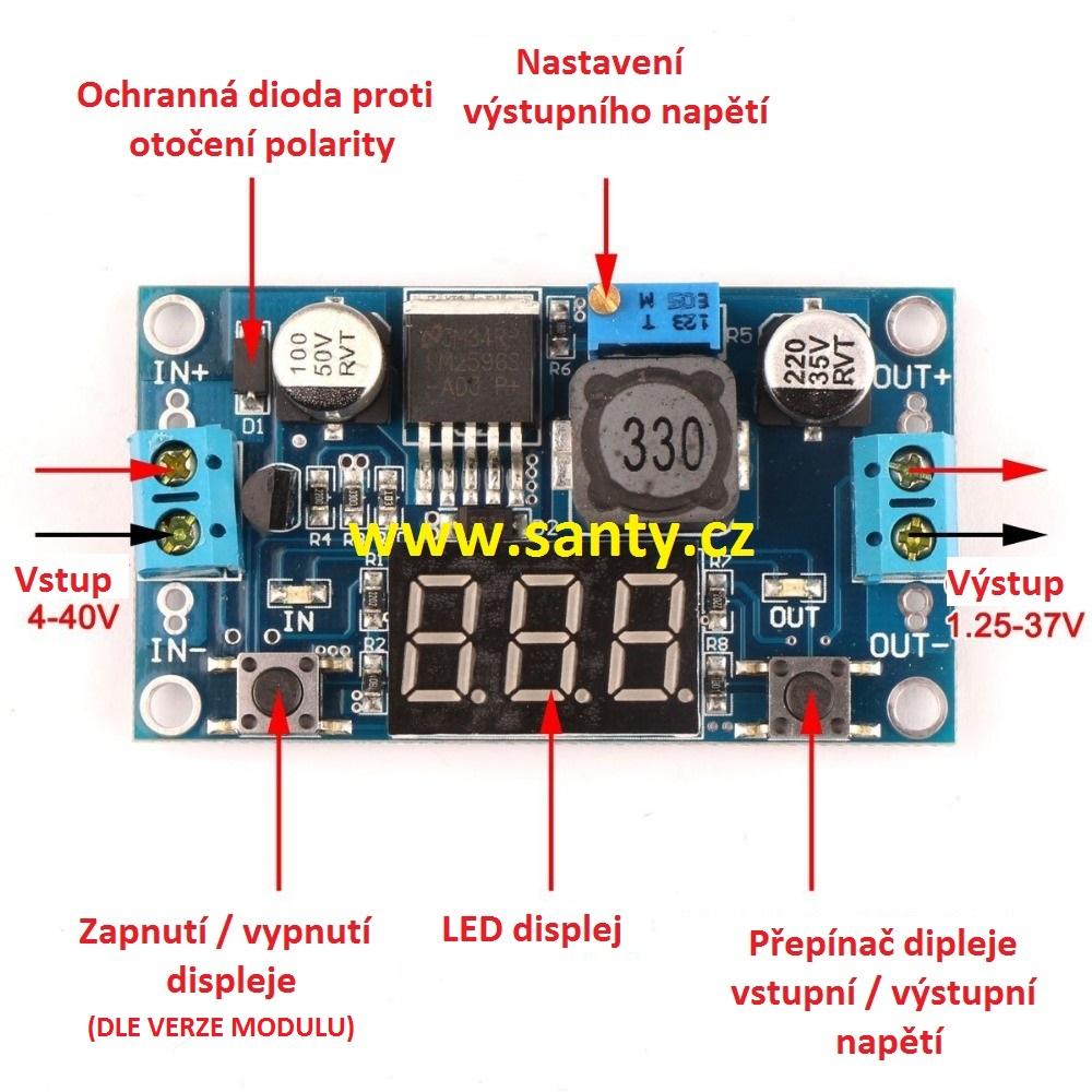 Omezovač napětí LM2596 s LED displejem (2-37V)