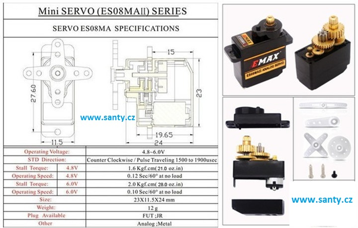 Mini servo ES08MA II s kovovými převody