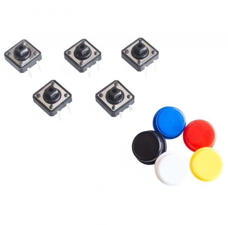 Mikrospínač TC-1212T 12x12x7.3mm - Černý